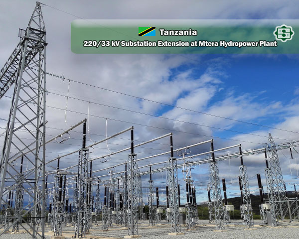 SUNIR 220/33 kV substation development project for Tanzania MTERA Dam hydroelectric power plant
